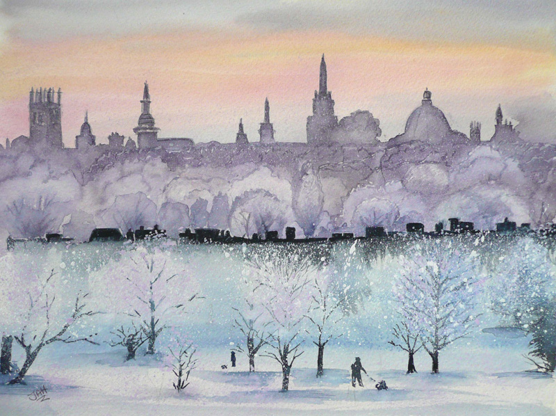 Oxford Skyline from South Park Headington SOLD Giclee print and cards available