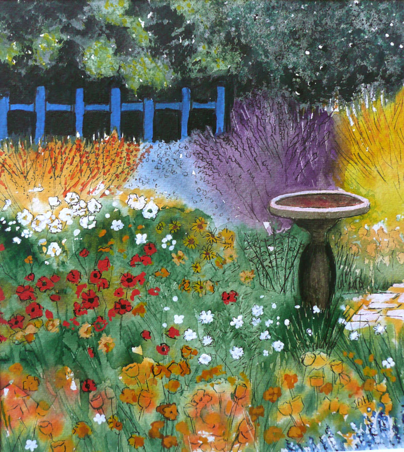 Summer Garden Giclee print and cards available