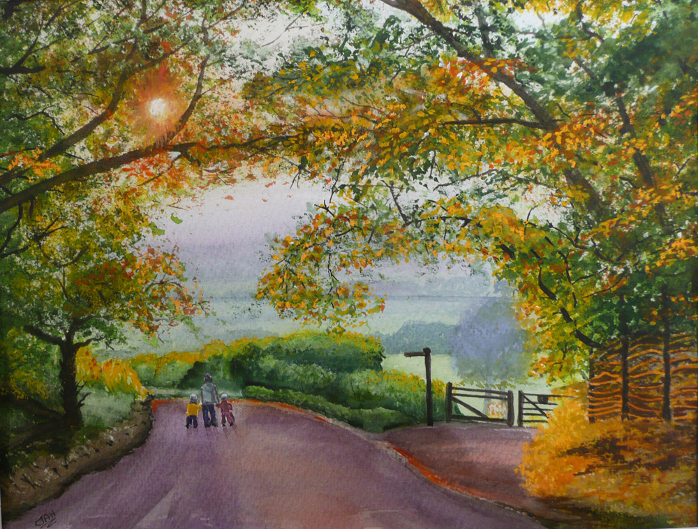 An Autumn Walk in the Cotswolds Giclee print and cards available.