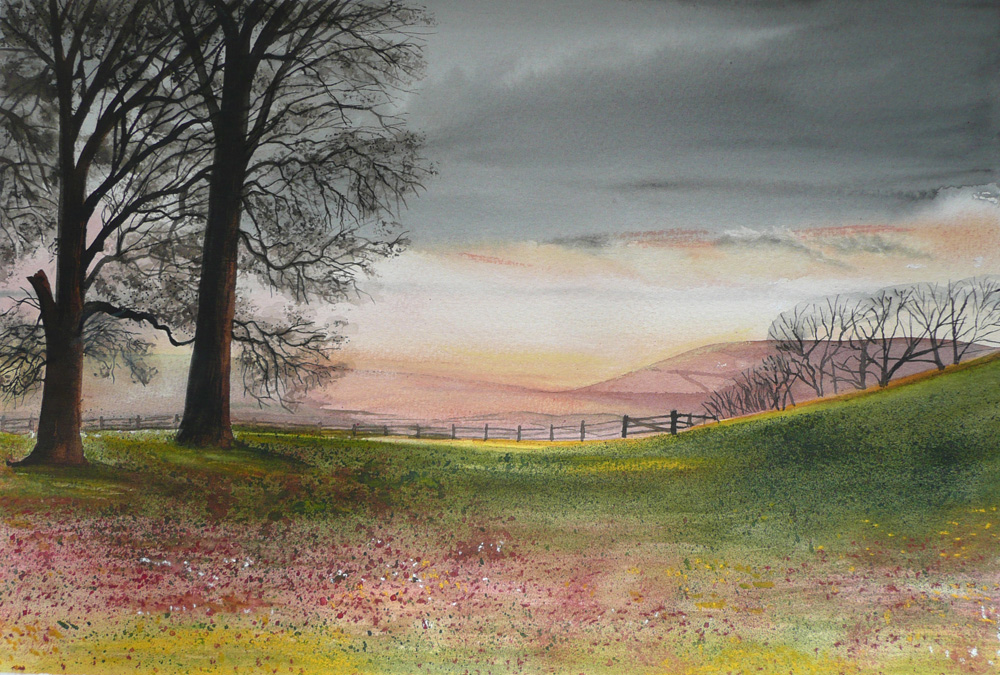 Vale of Evesham Walk   SOLD but giclee print and cards available.